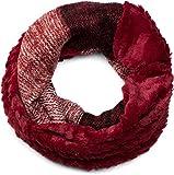 styleBREAKER Streifen Muster Wellen Strickloop Schal mit Kunstfelleinsatz, Strickschal, Damen 01018142, Farbe:Bordeaux-Rot-Weiß