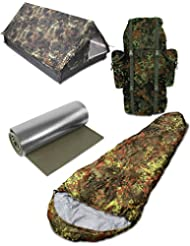 Biwak Camping Set Tunnelzelt, Bundeswehr Kampfrucksack, Aluminium Isomatte und Mumienschlafsack 4 Teile Flecktarn Ausführung