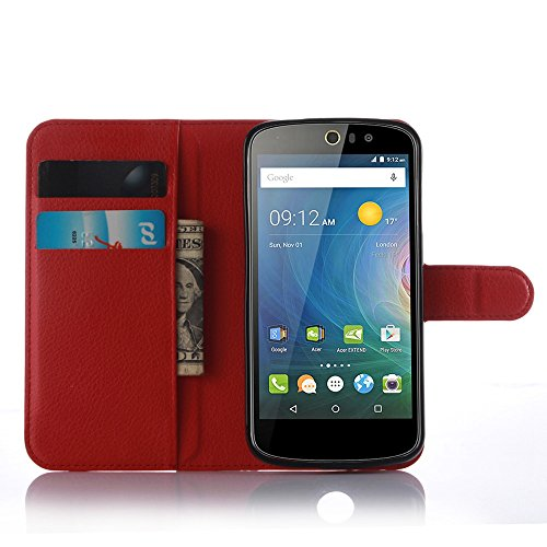 Tasche für Acer Liquid Z530 Hülle, Ycloud PU Ledertasche Flip Cover Wallet Case Handyhülle mit Stand Function Credit Card Slots Bookstyle Purse Design rote