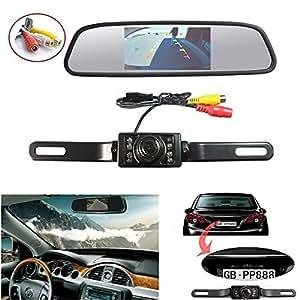 ROGUCI 4.3 Ecrans de Caméra de Recul pour Voiture et 4.3 Vue arrière Moniteur Aide au Stationnement Avant System Reverse TFT Mirror Rétroviseurs Extérieurs