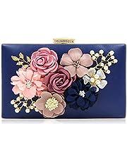 Tooba Handicraft Party Wear Beautiful Flower Box Clutch Bag