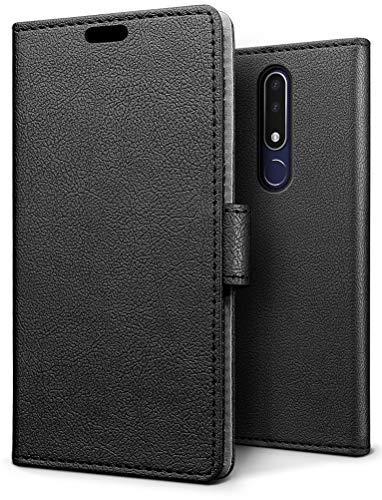 SLEO Hülle für Nokia 3.1 Plus, PU Leder Case Cover Tasche Schutzhülle Flip Case Wallet im Bookstyle für Nokia 3.1 Plus Hülle - Schwarz