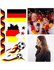 Temporary Tattoos Deutschland Flaggen Fahnen EM WM Einmaltattoos Fan Tattoo D-02