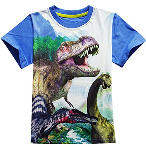 A T-Shirt Boys Clothes Jurassic World Short Sleeve Kids Summer Dinosaur t Shirt Clothes Baby Boys Clothing 3-12Y Blue 9T