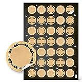 Logbuch-Verlag 140 kleine runde blanko Kraftpapier Aufkleber natur braun beige 3,2 cm...