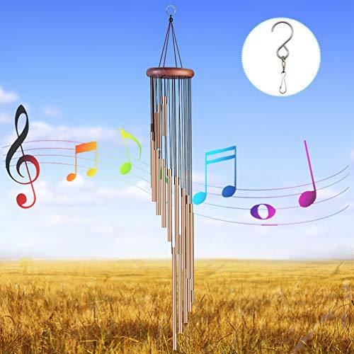 EAHUHO Windspiele im Freien, 90cm Memorial Windspiele mit Haken, 18 Aluminiumlegierung Rohre Wind Bell mit Holz Design, Geschenk für Gartenterrasse Hinterhof Home Decor -