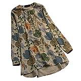IZHH Damen Vintage Shirt, Mode Tunika Langarmshirts BöHmen Blumendruck Bluse Button V-Ausschnitt Mieder TäGliche Party LäSsige Sommerkleidung (Gelb,3XL)