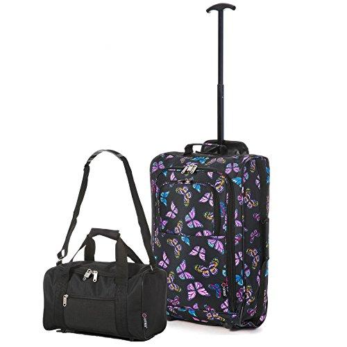 Ryanair Kabinenzugelassenes Handgepäck 55x40x20 & Zweites 35x20x20 Set - Nehmen Sie beide mit! Butterfiles Schwarz / Schwarz