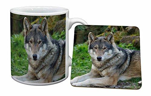 Advanta - Mug Coaster Set EIN herrliches Wolf Becher und Untersetzer Tier Geschenk Wolf Coaster Set