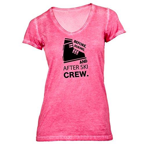 Damen T-Shirt V-Ausschnitt - After Ski Crew - Before, During and After Ski Hellrot