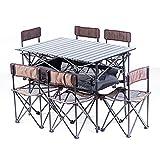 KOKR Portable Klapptisch Campingtisch mit 6 Klappstühle Für Picknick Party BBQ,Brown3