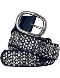 CASPAR Damen Vintage Gürtel mit Strass Steinen und Nieten Teil Leder - viele Farben - GU263