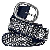 CASPAR Damen Vintage Gürtel mit Strass Steinen und Nieten Teil Leder - viele Farben - GU263, Gürtelgröße:90;Farbe:dunkelblau