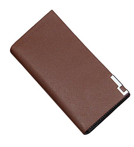 Lang Portemonnaie Herren Geldbörse Leder Geldbeutel Brieftasche für Männer Kaffee