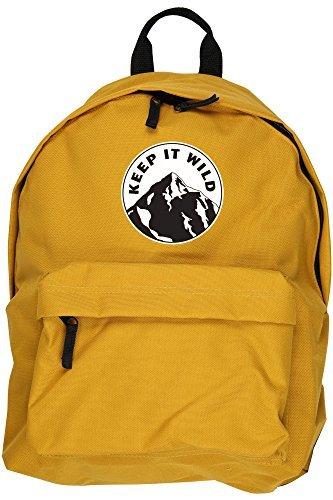 Mochila con mensaje 'Keep It Wild', de HippoWarehouse, dimensiones: 31 x 42 x 21cm, capacidad: 18 litros Amarillo...