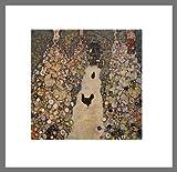 Gustav Klimt Gartenweg mit Hühnern Poster Kunstdruck Bild im Alu Rahmen in Champagne 46x46cm - Germanposters