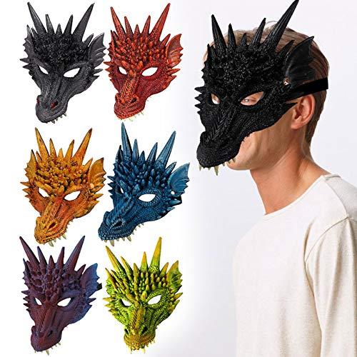 Kostüm Drache Frauen - Cutito Halloween Maske 3D Drache Cosplay Kostüm für Männer Frauen Karneval Party Fasching Karneval Schwarz