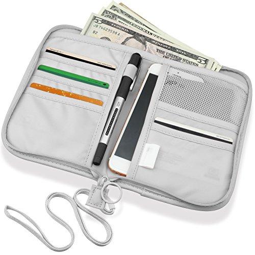 SPAHER Cartera para pasaporte Viaje tarjeta titular billetera con cremallera bolso organizador del sostenedor Documentos monedero de la ID Credit Card Cash Viajes Bolsa de viaje