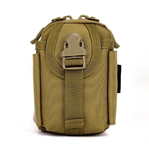 Imagen de louvra riñonera  de cintura bandolera cinturón riñonera táctical molle militar bandolera para camping, trekking, senderismo, etc, color marrón