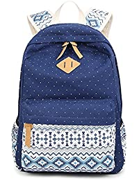 Marsoul® Polka Dot lace Korean Fashion Ladies Laptop Shoulder School Bags Casual Style Lightweight Canvas Backpack Travel Daypack (Navy Blue) … B01MS6RCAC