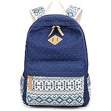 Backpack Mochilas Escolares, Marsoul Mujer Mochila Escolar Lona Grande Bolsa Estilo Étnico Vendimia Casual Colegio Bolso Para Chicas (Gypsy Punto Azul)