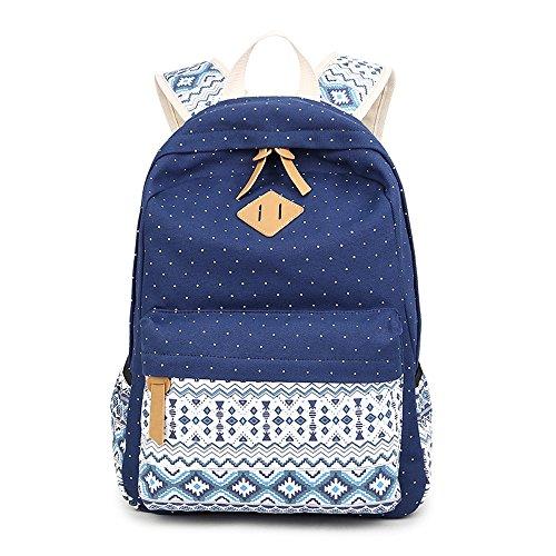 Imagen de backpack  escolares, marsoul mujer  escolar lona grande bolsa estilo étnico vendimia casual colegio bolso para chicas gypsy punto azul