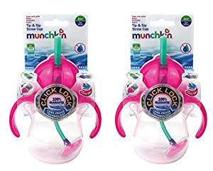 Munchkin Baby Lot de 2pointe & paille SIP Cups Rose 6mois + 200ml