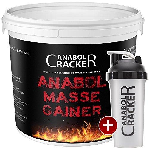 Anabol Masse Gainer, Whey Protein Shake, 1000g Eimer, Eiweißpulver Aminosäuren + Shaker (Vanille)