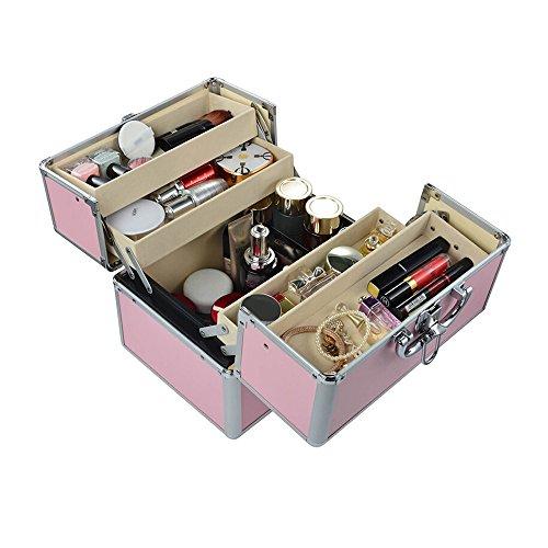 JH& Medizin-Box Startseite Aluminium-Legierung Schloss Doppel-offene Medizin-Box Multi-Funktions-Diagnose-Box Erste-Hilfe-Kasten Kosmetik Aufbewahrungsbox ++ (Farbe : Rosa, größe : L)