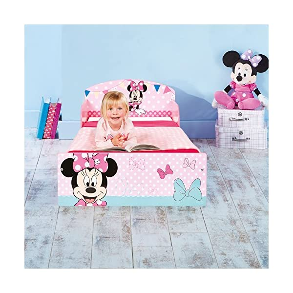 Disney Minnie Mouse Kids Toddler Bed by HelloHome  Sleep sweetly with this Minnie Mouse Toddler Bed Perfect size for toddlers, low to the ground with protective and sturdy side guards to keep your little one safe and snug Fits a standard cot bed mattress size 140cm x 70cm, mattress not included. Part of the Minnie Mouse bedroom furniture range from Hello Home 6