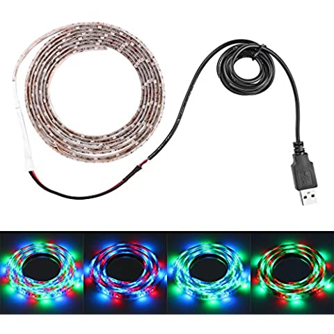 Bloomwin Nastro luminoso, Lampadine LED Striscia luce impermeabile flessibile USB 5V 3528 SMD 2M 120 LEDs RGB Multicolore - Console Nastro
