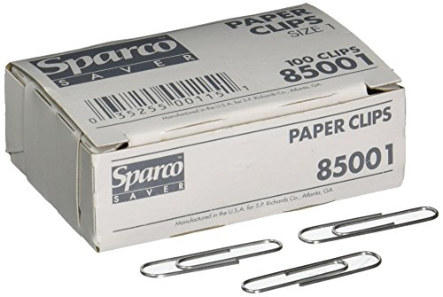 Paper Clips, Size 1, Regular, .033 Wire Gauge, 100/Box, Silver (Regular Size Paper)