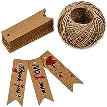 Etiquetas G2PLUS, de papel de estraza, 100 unidades, de 7 x 2 cm, para regalo, bodas, cumpleaños o equipaje, de color marrón, con 30 metros de cordel de yute, color marrón Flag-shaped