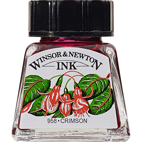 Winsor & Newton Bottiglie di Inchiostro 14ml, Crimson, 3.8 x 3.8 x 5 cm