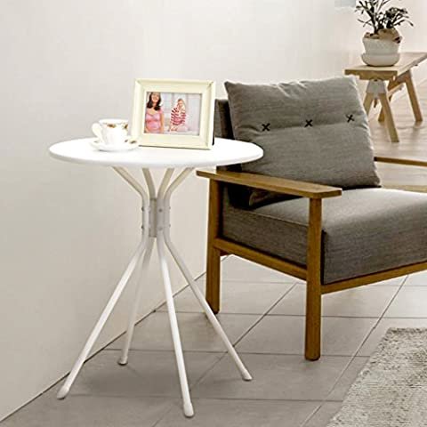 LANGRIA Modern Round Coffee Tea Side Sofa Table Set with Splayed Leg Base, Up to 66 lbs. (White)