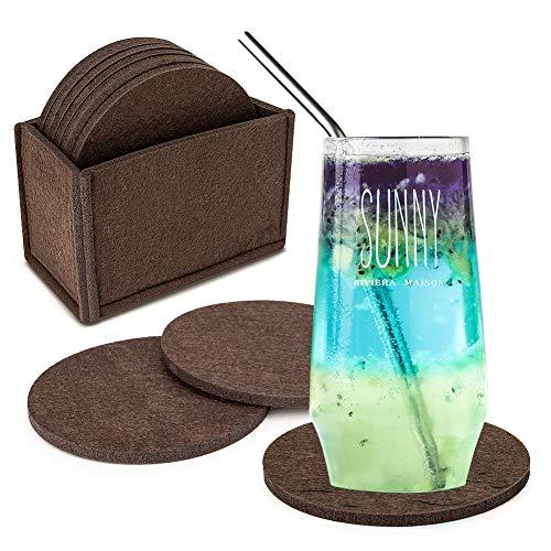 Filz Untersetzer rund 10 Stück, Eletorot untersetzer gläser Braun mit Box für Getränke, Tisch, Tassen, Bar, Glas, als Glasuntersetzer/filzuntersetzer für Glas und Gläser?Farbe wählbar