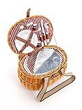 Picknickkorb Für 2 Personen Aus Weide - 15tlg. - Mit Kühlfach In 2 Ausführungen - Weiden Picknickkorb mit Deckel, Geschirr Set - Rot Weiß gestreift