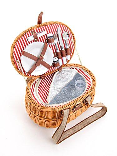 Picknickkorb für 2 Personen aus Weide - 15tlg. - Mit Kühlfach für das perfekte Essen zu 2. - Weiden Picknickkorb mit Deckel, Geschirr Set - Rot Weiß gestreift