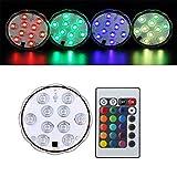 Unterwasser Licht mit Fernbedienung, RGB Multi Farbwechsel Wasserdichte LED Leuchten Teichbeleuchtung für Vase Base, Dekoration (RGB-4 Stück)