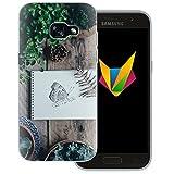 dessana Frühling transparente Silikon TPU Schutzhülle 0,7mm dünne Handy Soft Case für Samsung Galaxy A3 (2017) Schmetterling Garten