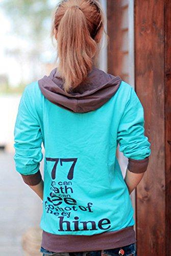 Onlyoustyle Décontractée Hooded Chemisiers Tops Longues Encapuchonné Sweatshirt Mode Imprimé Sweats à Capuche à Manches Automne Hiver Femme Lac bleu