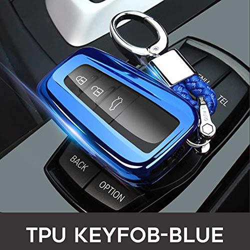 SUNQQB Auto Keychain Schlüsselabdeckungsfall Für Toyota Camry CHR Prius Corolla RAV4 Prado 2017 2018 Avalon Land Cruiser Remote 3 Taste,A,Blue -