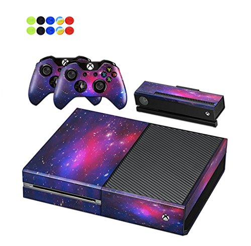 Skin for XBOX ONE - Morbuy Vinyl peau Protective Autocollant Decal Sticker pour Microsoft XBOX ONE console + 2 Autocollant Manette et 1 autocollant Kinect Set + 10pc SiliconeThumb Grips (Ciel Rose)