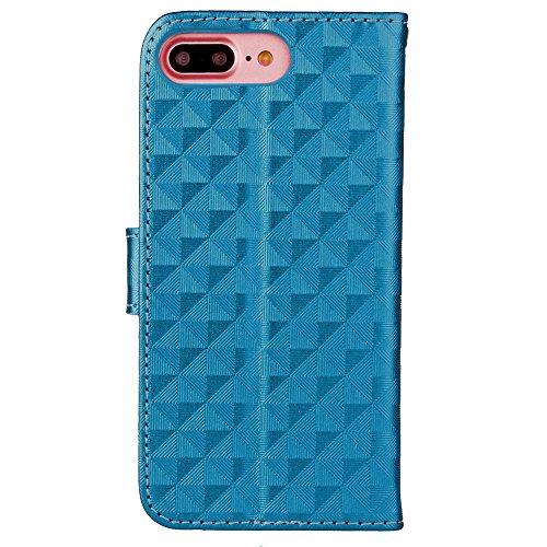 IPhone 7 Plus Housse de cas, carré motif Lattice Flip Stand Case TPU couverture avec lanterne et portefeuille et cadre photo pour Apple IPhone 7 Plus ( Color : Gold , Size : IPhone 7 Plus ) Blue