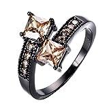 GHY Anillo Moda Oro Negro Y Anillo de Diamantes Joyas Moda Decoración...