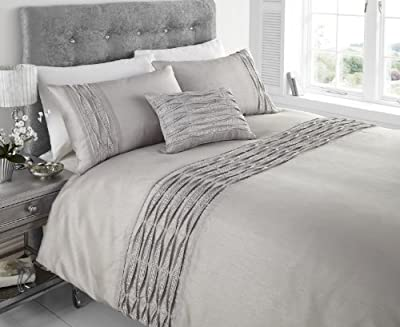 Aurea Diamante Ruffle Faux Silk Double Bed Duvet Cover Quilt Bedding Set Silver