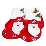 4er SET Nikolaussocke mit Mistelzweig, Schneeflocken, detailreicher Weihnachtsmann mit Schlaufe, Adventskalender, Deko, Santa Claus, Adventsschmuck, befüllbarer Strumpf, Farbe: Rot/ weiß und grün