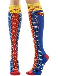 Superman Faux Lace Up Genou Haute Fantaisie Chaussettes
