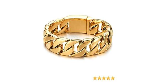 Acier Inoxydable Bracelet Homme Cha/îne Gourmette COOLSTEELANDBEYOND Grande Style Masculine Couleur Couleur Or