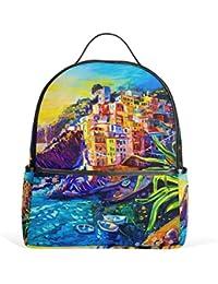 ALAZA Italia Casa de petróleo del Mar del Barco Mochila Pintura para School Bookbag